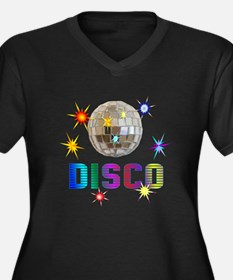 Disco Women's Plus Size V-Neck Dark T-Shirt