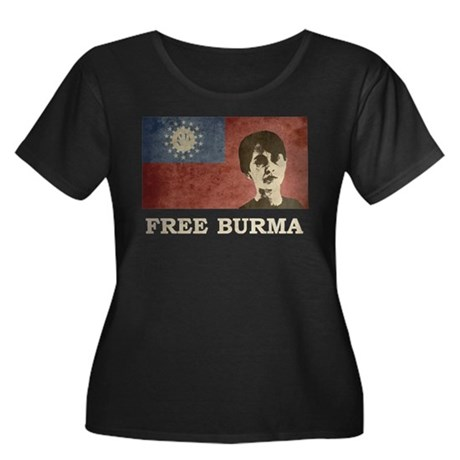 Free Burma Women's Plus Size Scoop Neck Dark T-Shi