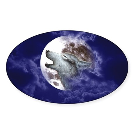 Moon Wolf ~ Oval Sticker