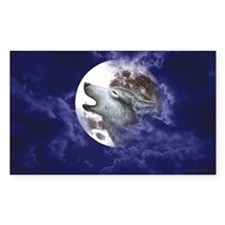 Moon Wolf Rectangle Decal