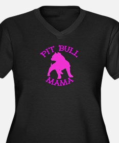 Pitbull Mama Solid Women's Plus Size V-Neck Dark T