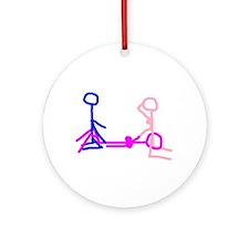 Stick figure 2 Ornament (Round)