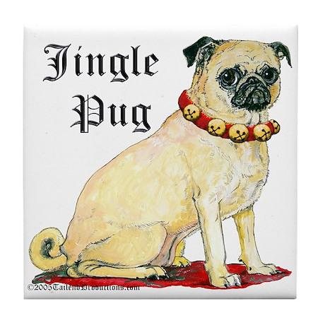 Adorable Jingle Pug! Tile Coaster