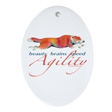 Beauty, Brains and Speed Oval Ornament