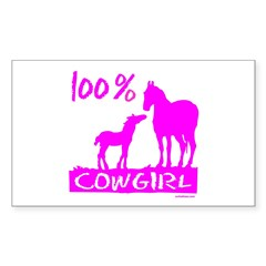 100% COWGIRL Rectangle Sticker 10 pk)