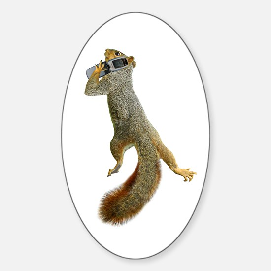 Squirrel Cell Phone Sticker (Oval)