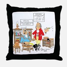 Free wooden teeth with haircu Throw Pillow