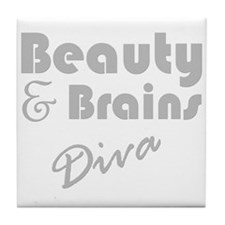 Beauty and Brains Tile Coaster
