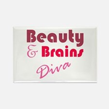 Beauty and Brains Rectangle Magnet