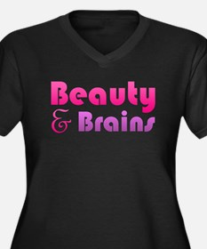 Just Beauty and Brains Women's Plus Size V-Neck Da