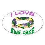 King Cake Party Oval Sticker