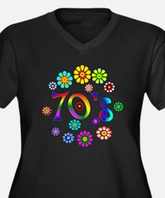 70s Women's Plus Size V-Neck Dark T-Shirt