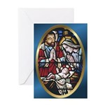 Manger Stained Glass Greeting Card