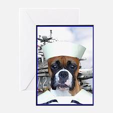 Boxer Navy Sailor Greeting Card