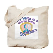 Wife Ovarian Cancer Superhero Tote Bag