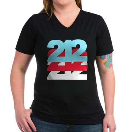 212 Area Code Women's V-Neck Dark T-Shirt