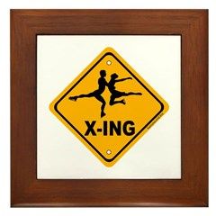 Figure Skate X-ing Framed Tile