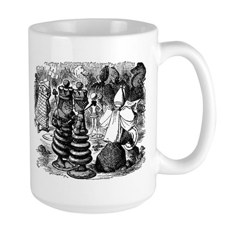 Alice's Chess Pieces Large Mug