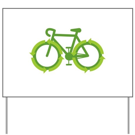 Go Green Bike Earth Yard Sign