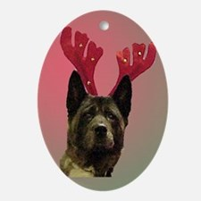 Maggie the Akita/Reindeer Oval Ornament