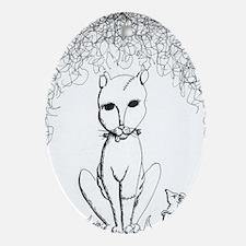 Franken-Kitty Oval Ornament