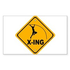 Pole Vault X-ing Rectangle Sticker 10 pk)