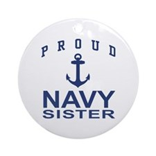 Navy Sister Ornament (Round)
