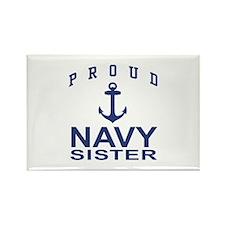 Navy Sister Rectangle Magnet