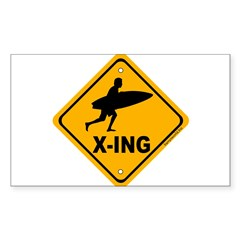 Surf X-ing Rectangle Sticker 10 pk)