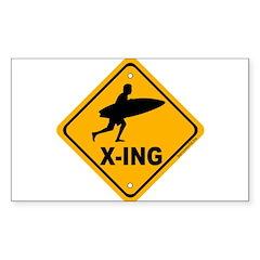 Surf X-ing Rectangle Sticker 10 pk)