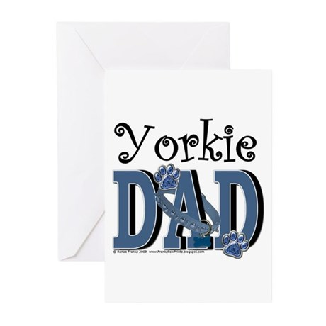 Yorkie Dad Greeting Cards (Pk of 10)