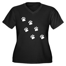 PAW PRINTS Women's Plus Size V-Neck Dark T-Shirt