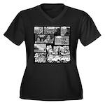 Ammonwear Women's Plus Size V-Neck Dark T-Shirt