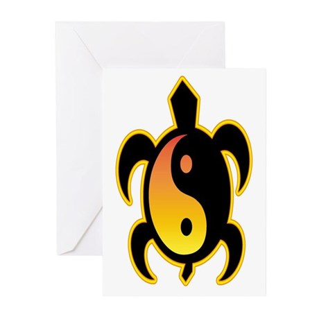 Gold Yin Yang Turtle Greeting Cards (Pk of 10)