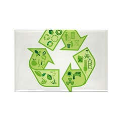 Go Green Tree Recycle Rectangle Magnet (10 pack)