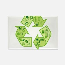 Go Green Tree Recycle Rectangle Magnet