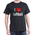 I Love Softball (Front) Black T-Shirt