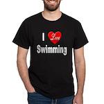 I Love Swimming (Front) Black T-Shirt