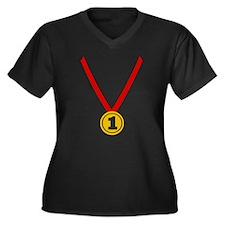 Gold Medal - Winner Women's Plus Size V-Neck Dark