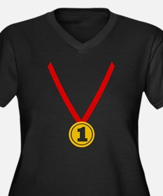 Gold Medal - Winner Women's Plus Size V-Neck Dark