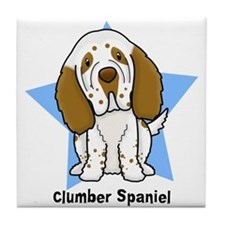 Star Kawaii Clumber Spaniel Tile Coaster
