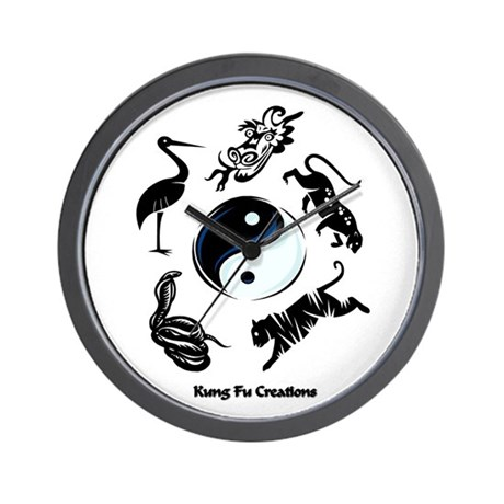 5 animal Kung Fu logo Wall Clock