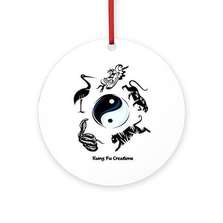 5 animal Kung Fu logo Ornament (Round)