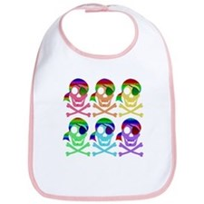 Rainbow Pirate Skulls Bib