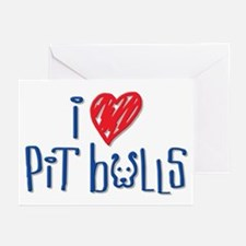 I Love Pit Bulls Greeting Cards (Pk of 20)