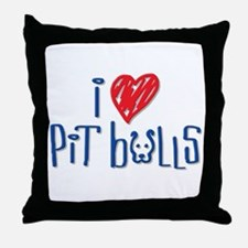 I Love Pit Bulls Throw Pillow