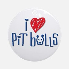 I Love Pit Bulls Ornament (Round)