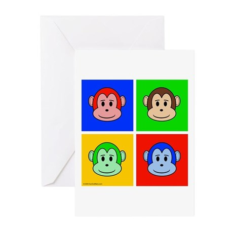 Andy Warhol like monkey design Greeting Cards (Pac