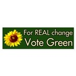 For Real Change Vote Green bumper sticker