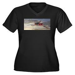 Reprise Skies Women's Plus Size V-Neck Dark T-Shir